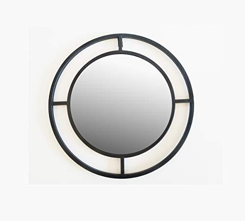 Meubletmoi - Espejo de Pared Redondo de Metal Negro para decoración de Pared