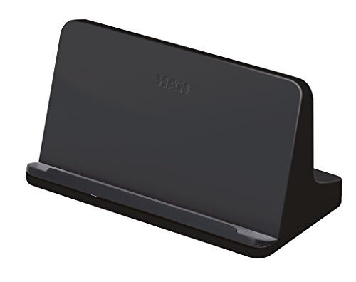HAN Tablet Halterung smart-Line 92140-13 in Schwarz - Tablet Halter in Weiß für das Büro mit Soft-Grip Aufstellfläche - Geeignet für alle gängigen Tablets (Dock-line-halter)