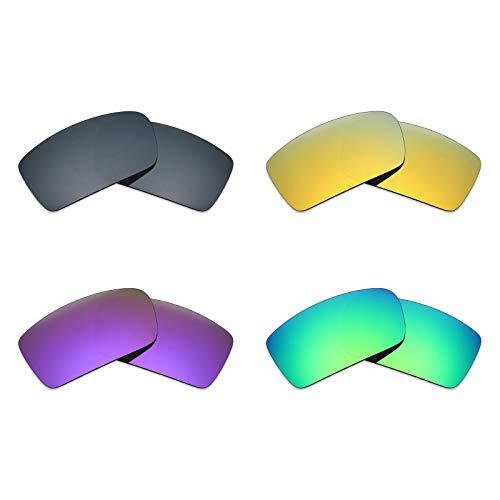 MRY 4Paar Polarisierte Ersatz Gläser für Oakley Gascan sunglasses-black Iridium/24K Gold/Plasma violett/Smaragd Grün