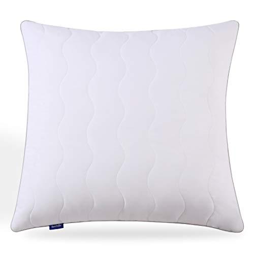 Sweetnight Kopfkissen 80 x 80 cm allergiker Kissen Hotel 1100g nackenstützt Polyesterholfaser Kissen einstellbar Füllungen mit Reißverschluss Gesteppter Kissenbezug Veganes Weiß
