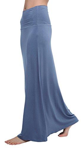 Damen Slinky (Damen Rock Lange Elastischer Strertchy Zigeuner Maxi Rock (L, Greyish Blue))
