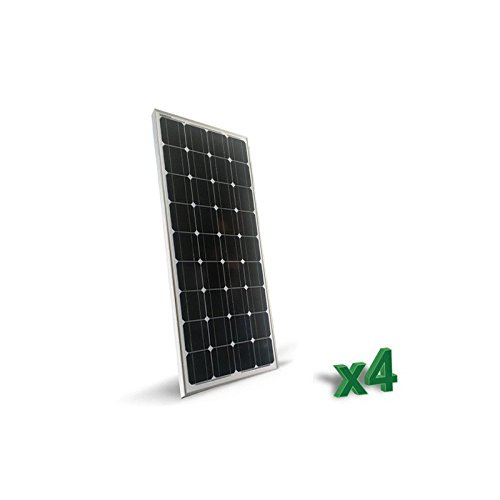 Set 4 x Placa Solar Fotovoltaico 400W 12V Monocristalino 2 x 4 x Placa Solar Fotovoltaica 100W Monocristalino tot. 400W Placa Solar Fotovoltaico 12V de Silicio monocristalino, ideal para casas rodantes de comida, botes, casas de campo, sistemas de v...