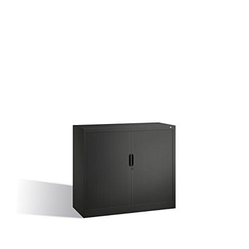 CP Rollladenschrank mit Horizontal-Jalousie - HxBxT 1030 x 1200 x 420 mm, 2 Fachböden, 2,5 Ordnerhöhen - schwarzgrau - Aktenschrank Beistellschrank Büroschrank Sideboard Hängeregistratur Mehrzweckschrank Stahlbüroschrank Stahlschrank Universalschrank (Horizontal-jalousie)