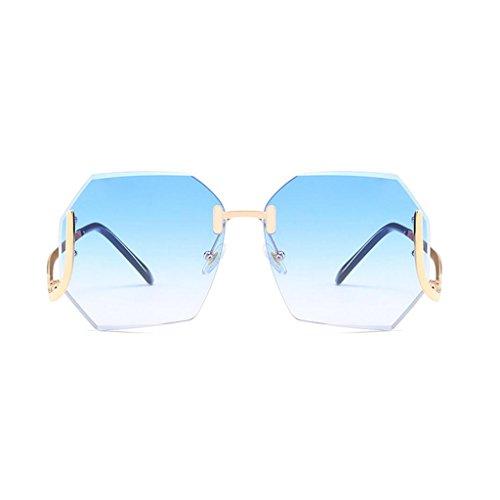 Gaolixia occhiali da sole vintage senza bordi per vacanze golf beach occhiali da sole classici firmati da donna in metallo (color : blue, dimensione : one size)
