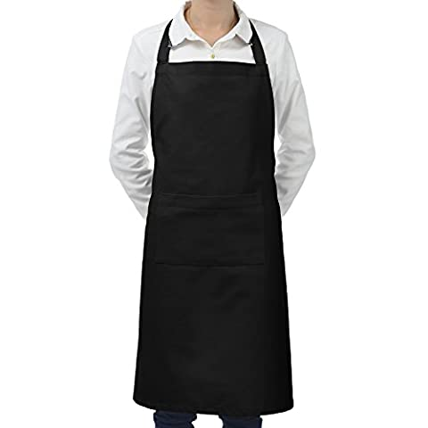 VEEYOO 100% Cotton Adjustable Bib Apron with Pocket, Commercial Durable