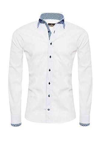 Giorgio Capone Herrenhemd, weiß, 100% Leinen, mit bayerischen Akzente, Langarm, Slim & Regular Fit (XL (Easy Care Leinenhemd)