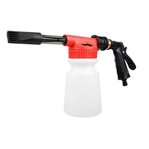 2 in 1 Verstellbare Schaumkanone 1000 ml Flasche Autowascher Hochdruck Schnellentriegelung verstellbar Schneeschäumer Hochdruckreiniger Pistolenset, rot, Length: 45cm(17.55in) ,Wide: 21cm(8.19in) -