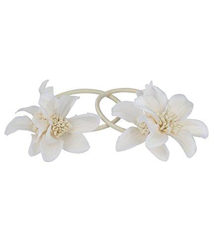 SIX Haarschmuck, 2er Set Haargummis mit weißen Blumen aus Stoff, Blumenschmuck (05-516)