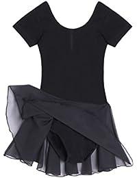 Qenci Niños Chica Clásico Bailarina Vestido Disfraz para Niños Ballet Tutú Camiseta Vestido Manga Corta Rosa
