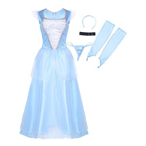 dPois Damen 5 teilige Prinzessin Outfit Aschenputtel Langer Kleid mit Zubehör Cosplay Kostüm Erwachsene Verkleidung für Party Fasching Halloween Blau X-Large (Mit Einem Ball Für Erwachsene Cinderella Kostüm)