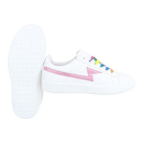 Ital-Design Sportschuhe Damenschuhe Geschlossen Sneakers Schnürsenkel Freizeitschuhe Weiß Rosa JS830