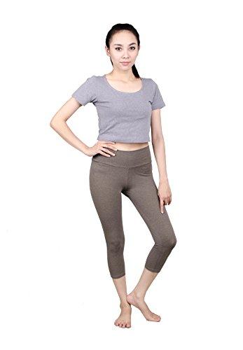 Lofbaz Femmes coton pantalons capri leggings 3/4 genou longueur Yoga Pierre de rivière (Thin)