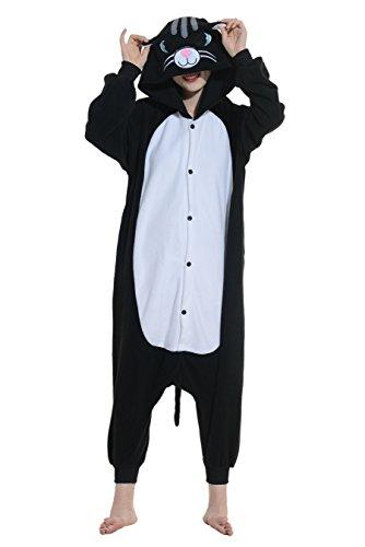 Mann Kostüm Katze (Tier Pyjamas Kostüm Jumpsuit Fasching Onesie Damen Herren Karneval Cosplay Nachtwäsche)