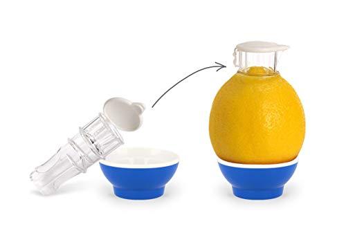 Patent-Safti Entsafter I Der Originale Safti Ausgießer für Zitronen, Orangen etc. I Einfacher als Jede Zitronenpresse oder Saftpresse I BPA frei, (Blau)