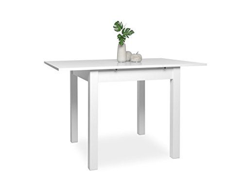 Esstisch Cottbus weiß 80(120)x80 cm Esszimmertisch Speisetisch Auszugstisch Küchentisch Tisch Esszimmer Küche