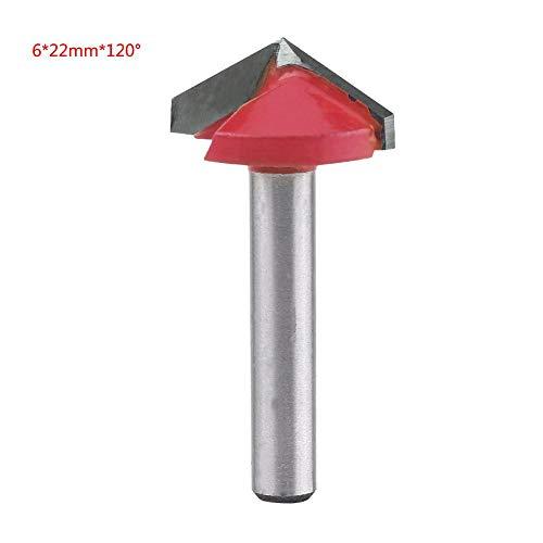 1 Stück 3D Wolfram Stahl Holzbearbeitung CNC Fräser Scharfe V-nut Schneidwerkzeug Schaftfräser 60/90/120/150 Grad 6mm Welle MEHRWEG VERPACKUNG socialme-eu(6 * 22mm*120°)