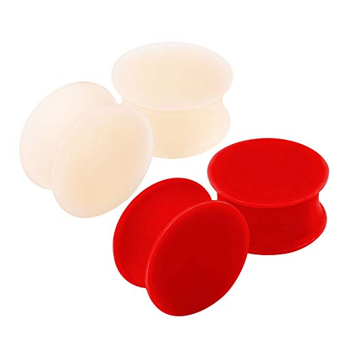 KJM FASHION 4 STK Silicone Hautfarbe Rot 18 mm 11/16 Double Flared Flesh Earplugs Ohr Plug Stecker Ring Expander Stab Piercing Schmuck 2856