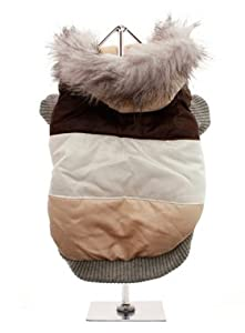 UrbanPup Brown Stripe Luxury Ski Parka