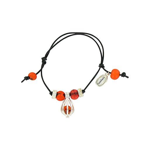 Armband mit Acai und versilbertem Metall-Anhänger - Trachtenarmband, orange