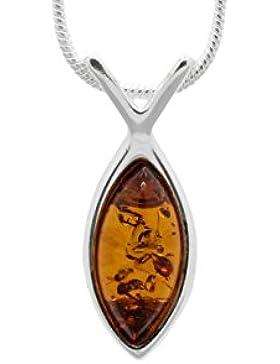 925Sterling Silber Fisch Anhänger Halskette mit echter Baltischer Natur Bernstein. Kette enthalten