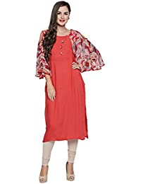 Oomph! Indo-Western Kurtis For Women Party Wear - Cape Sleeves - Coral