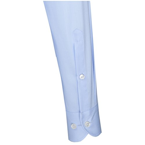 SEIDENSTICKER Herren Hemd Slim 1/1-Arm, extra lang Bügelleicht Uni / Uniähnlich City-Hemd Kent-Kragen Kombimanschette weitenverstellbar blau (0012)
