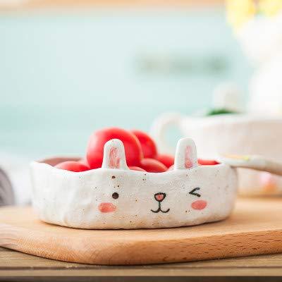 LOYWT Cartoon Hand kneten Kaninchen Hase Keramik Geschirr, Becher Tasse Kaffee Tasse, schöne Dessert Teller Salatschüssel, Kleine Kaninchen Platte (Kaninchen Keramik Hase)