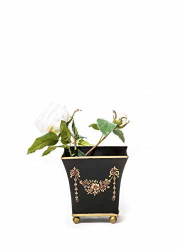 Sammsara Amaya Jodhpuri Black Flower Tassle Hand Painted Hand Made Iron Flower Vase with brass feet   Decorative Flower Vase Pot for Indoor,Outdoor,Home Décor  available at amazon for Rs.999