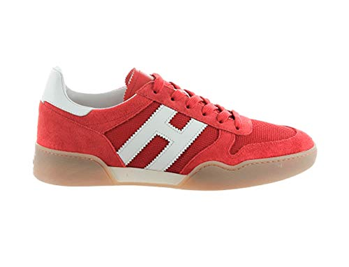 Hogan Sneakers H357 in Suede Red and White, Homme, Taille 7.