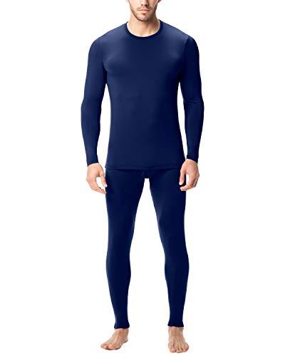 Lapasa uomo set intimo termico - ti tiene al caldo senza stress- t-shirt maniche lunghe & pantaloni invernali m11 (s(torace 89-94cm/ vita 71-76 cm), blu navy)