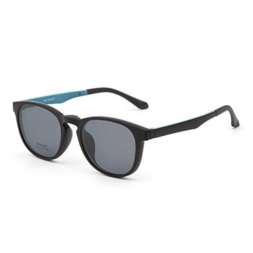 JIM HALO Retro Rund Polarisiert Magnetisch Sonnenbrille Clip auf Brille Rahmen Damen Herren(Matt-Schwarz/Grau)