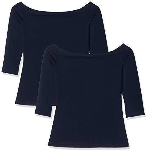 oodji Ultra Damen Tagless Schulterfreies Langarmshirt (2er-Pack), Blau, DE 36 / EU 38 / S