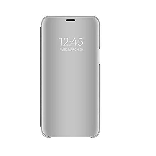 "Funda Xiaomi Mi MAX 3 Espejo Flip Caso PU Leather Billetera TPU Silicona Hard PC Anti-Rasguños 360 Protección Carcasa para Mi MAX 3 (Plata, Xiaomi Mi MAX 3 6.9"")"