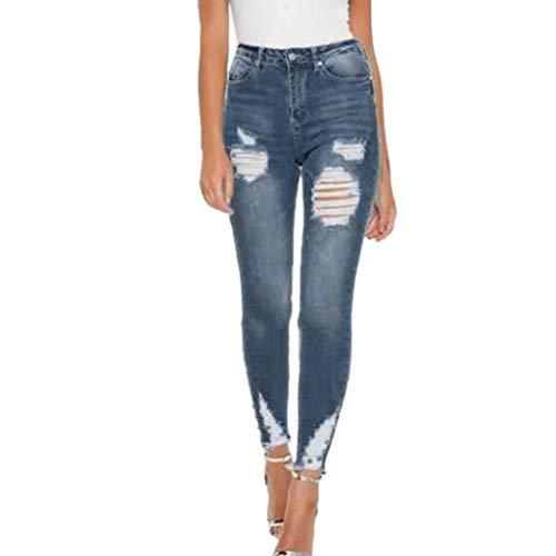 Produp Damen Sexy Slim-Fit Stretch Jeans mit Reißverschluss und niedriger Taille -