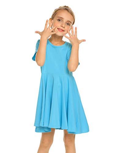 Kleid Mädchen Sommer A-Linie Kurzarm Baumwolle T-Shirt Kleider Freizeitkleidung Gr. 110-150 (Schwarzen Shirt Kleid Mädchen)
