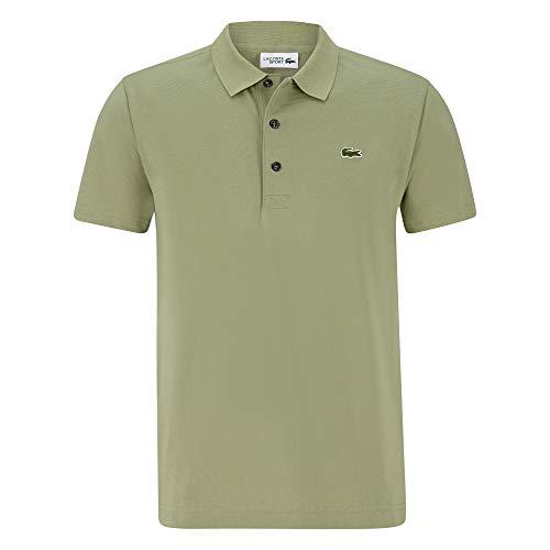 Button Down Cotton Polo Shirt (Lacoste YH4801 Herren Polo Shirt Kurzarm,Männer Polo-Hemd,3 Knopf,Slim Fit,Poplar(04C),Large (5))