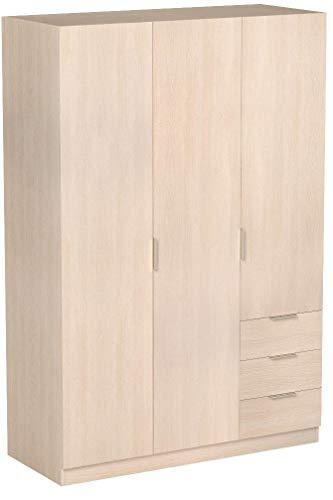 Habitdesign LCX323R - Armario ropero de Tres Puertas y Tres cajones, Color...