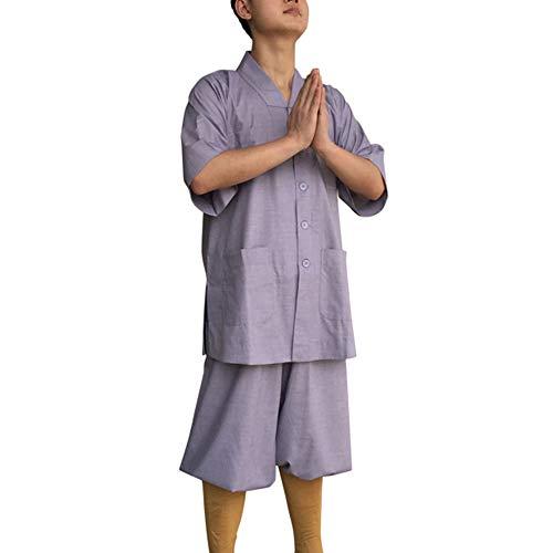 G-like Buddisten Mönche Laien Kostüm - Chinesische Traditionelle Buddhistische Taoistische Kleidung Kampfkunst Shaolin Kung Fu Wushu Kurzärmelige Robe Stehkragen Uniform Sommer Anzug (Grau, L) -