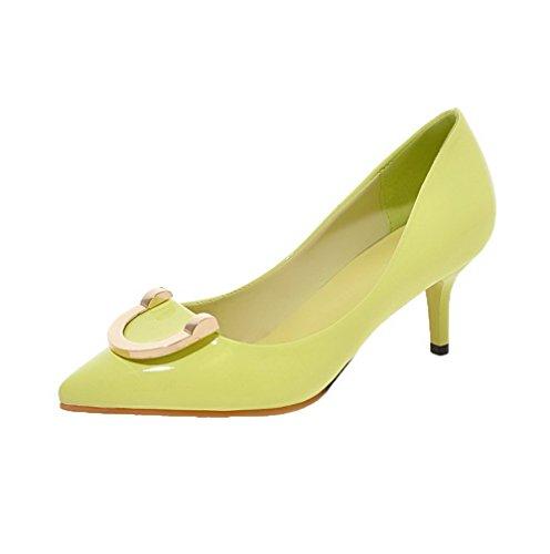 AgooLar Femme Pu Cuir Mosaïque Tire Pointu à Talon Correct Chaussures Légeres Vert