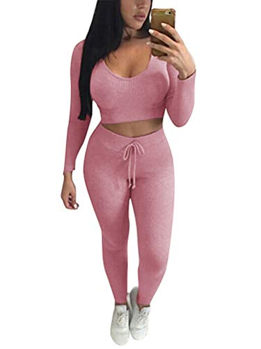 Minetom Damen 2 Stücke Set Outfit Sport Yoga Fitness Bodycon Slim Jogginganzug U-Ausschnitt Langarmhemd Jumpsuit Crop Top + Leggings Slim Fit Rosa DE 34