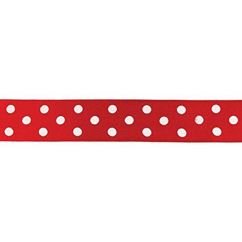 Gepunktetes Geschenkband 100 cm rot