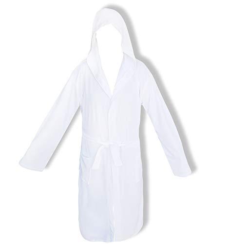 Bademantel für Damen mit Kapuze Perlarara Größe S - M - L - XL - XXL Neuheit Baumwolle Frottee Lacoste Salvaspazio (Weiß, L/XL - 50/54)