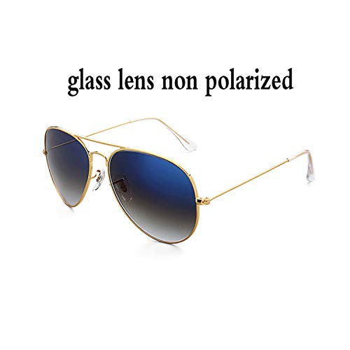 Sport-Sonnenbrillen, Vintage Sonnenbrillen, 3026 Aviation KUNSTSTOFF Polarized Sunglasses Männer WoMänner 62Mm Gradient Glass Lens Pilot Glasses Mirror Oculos De Sol UV400 gradient blue glass