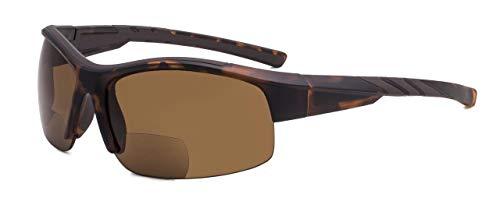 Eyekepper TR90 Unzerbrechlich Sport Bifokal Halbrand Sonnenbrille Baseball Laufen Angeln Fahren Golf Weicher Ball Wandern Matt-DEMI Rahmen +2.25