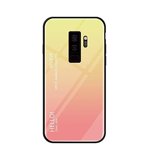 Kucosy Samsung Galaxy S9 SchutzHülle Mode-Gradienten Spiegel Handyhülle Stoßfestes und Kratzfest Handy-Etui mit Silikon TPU + Hart Bumper Zurück Schale Hülle für Galaxy S9, Gradient Gelb