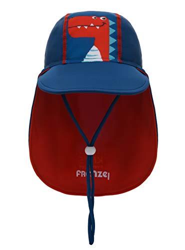 Foruhoo Baby Mütze UV-Schutz 50 mit Kordelzug for Jungen, Breite Krempe Sommerhut Sonnenhut (51cm / 18-36 Monate, Dinosaurier Blau) -