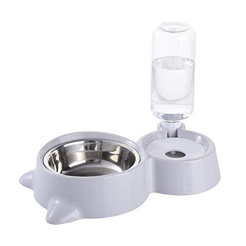 Arvin87Lyly Futter Und Wasserspender Automatischer Futterspender 2 In 1 Futter Wasserspender,Automatischer Wasserspender Zufuhr Trinker Katzen Ohren des PP Edelstahl Geformten Hundenapf