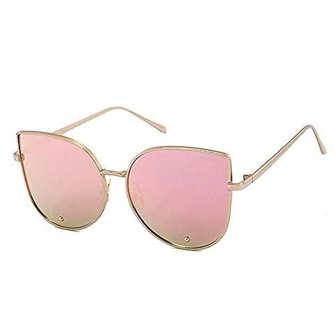 Panelize Cateye Sonnenbrille Elastisch Metallrahmen Stabil Getönt Gläser (Rosa)