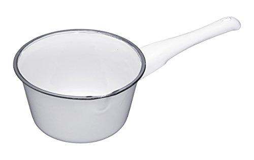 Kitchen Craft 17 cm, Living Nostalgia induktionsgeeignet Emaille-Milchtopf, Weiß/Grau