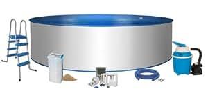 mediPOOL - Rundpool Ø 3,50 x 1,20m - 0,6mm Folie 0,6mm Stahlmantel, Komplett-Set   Pool-Set Komfort